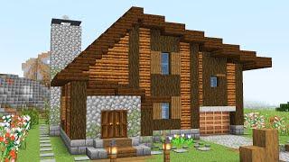 Современный дом из дерева в майнкрафте (большой)