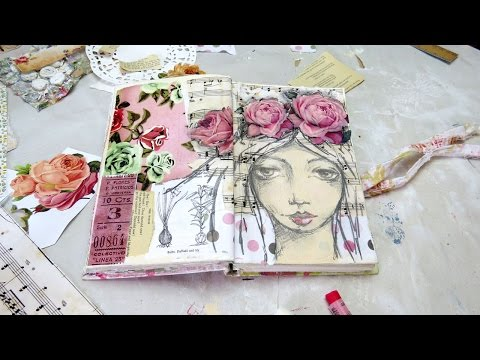 creating a mixed media girl art journal page