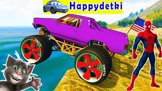 Человек паук катается на машине с большими колесами, мультики для детей, песенки