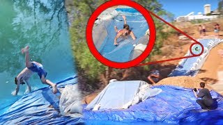 150ft MEGA SLIP N SLIDE LAUNCH FAIL!!