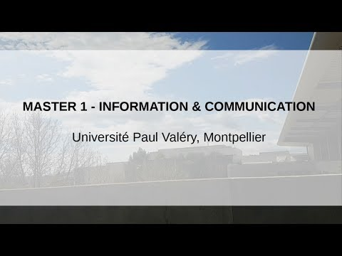 Masters 1 Infocom - Université Paul Valéry Montpellier 3 [NON OFFICIEL]