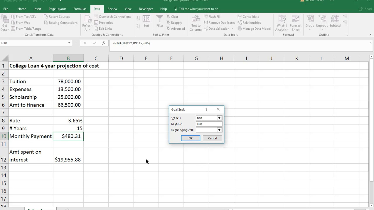 Excel estimate how to pay off a college loan using PMT ...