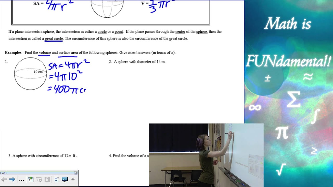 116 Geometry Surface Area And Volume Of A Sphere 20161121 Using Formulas