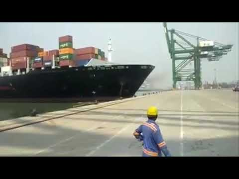 Container Ship Hit the Jetty at the Time of Berthing