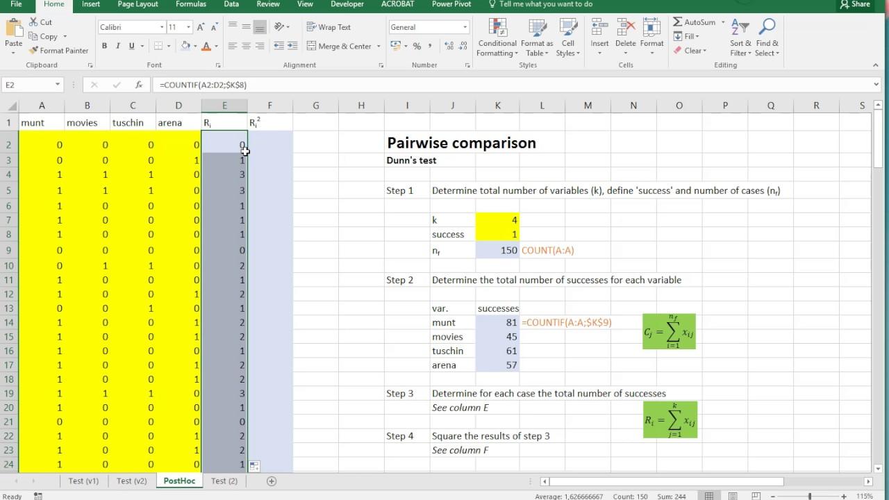 Excel   Cochran's Q post hoc Dunn test