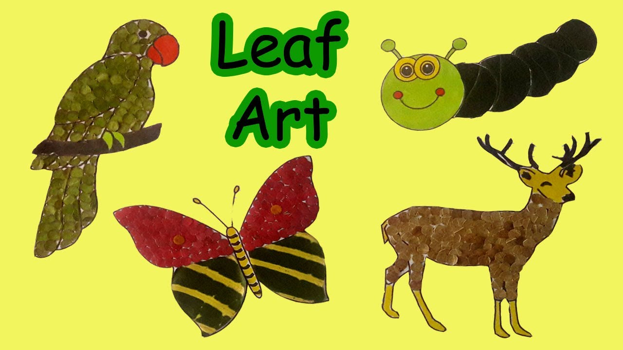 Different ways to paste leaves on a picture -- Leaf Art by Misty