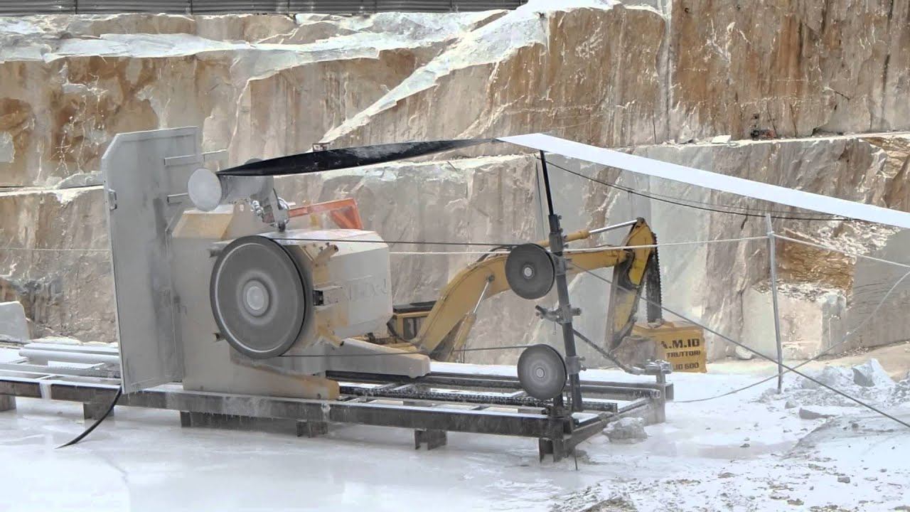 WIRE SAW CUTTING MACHINE S860EG IN CARRARA WHITE MARBLE QUARRY - YouTube