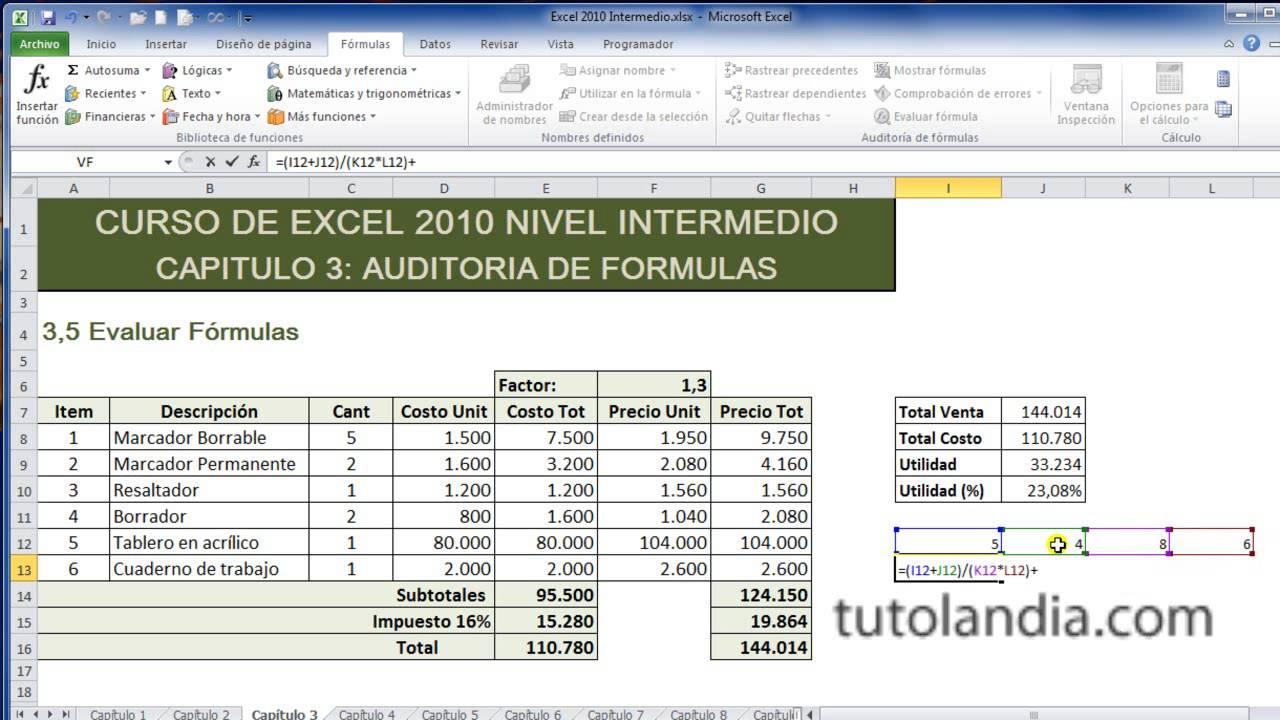 Curso de Excel Intermedio 20.20 Evaluar Fórmulas