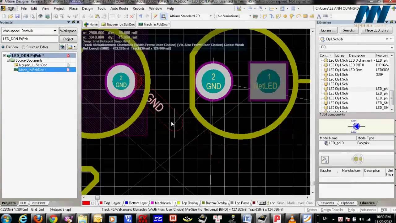 Hướng dẫn : Vẽ mạch in bằng Altium Designer ( Phần 2 ) - [ http://banlinhkien.vn/ ]