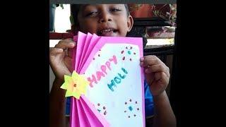 Holi greeting card/ கண்ணை கவரும் greeting card/How to make a holi greeting card