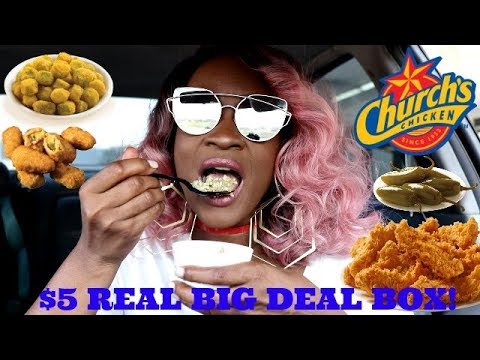 CHURCH'S $5 REAL BIG DEAL BOX! LETS EAT! ( 2 MEN SCARE THE MESS OUT OF ME!)