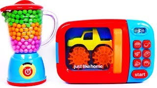 Monster Trucks and Microwave Toy Playset for Kids Learn Colors with Candy