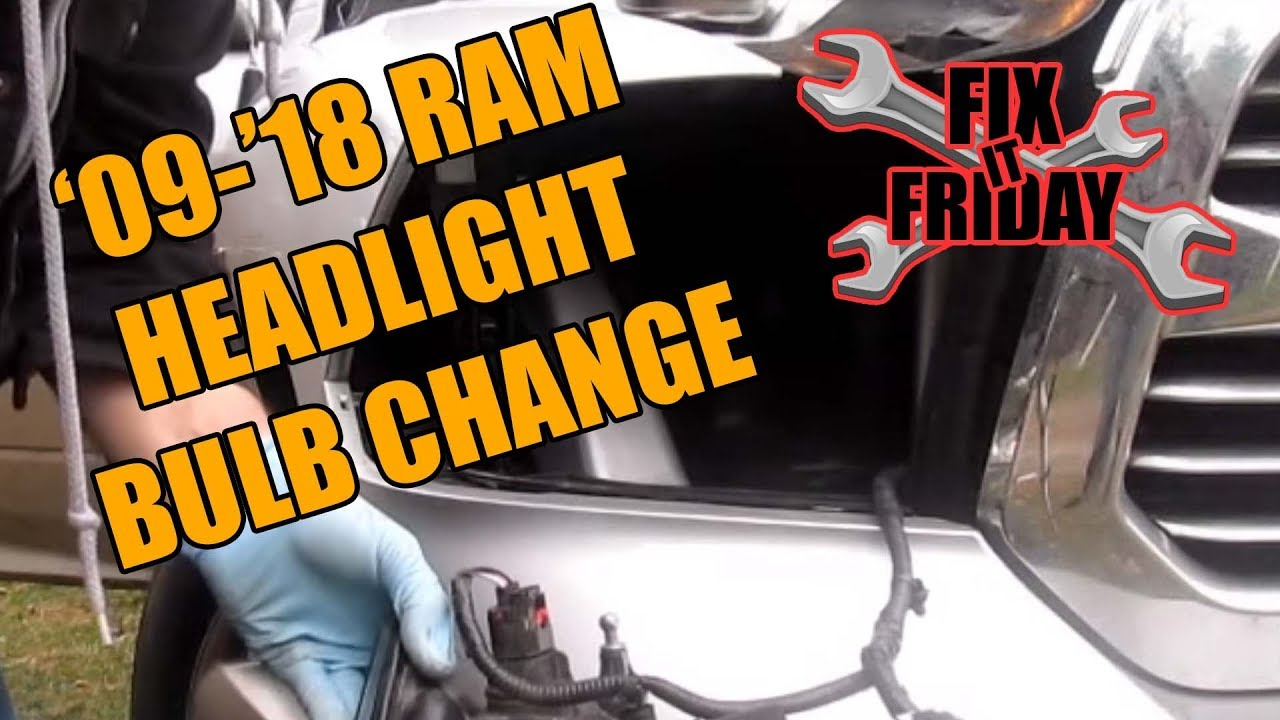 hight resolution of 2009 2018 ram headlight bulb change head light removal