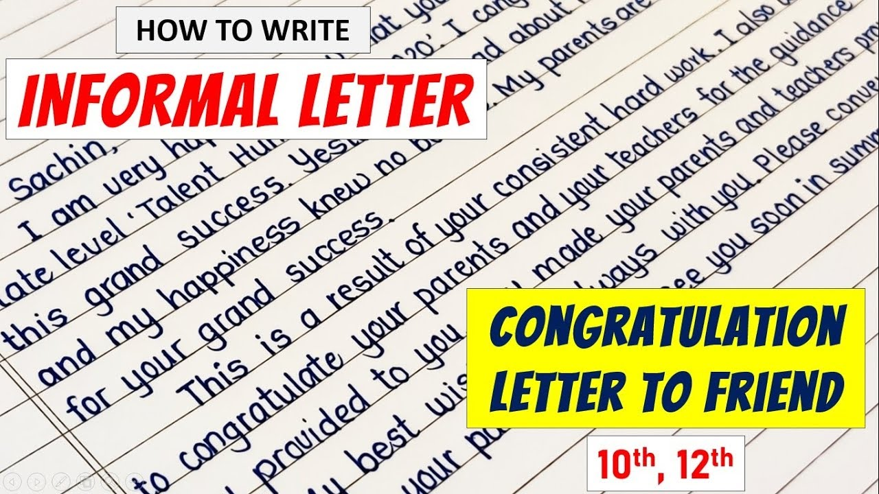 Letter Writing In English Congratulation Letter In English How To Write Informal Letters Tips Youtube
