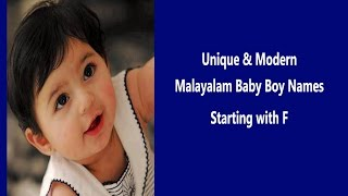 Unique Malayalam Baby Boy Names With F