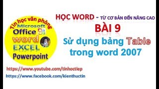 Học Word - Bài 9: Hướng dẫn kẻ bảng trong word | Tin học văn phòng word
