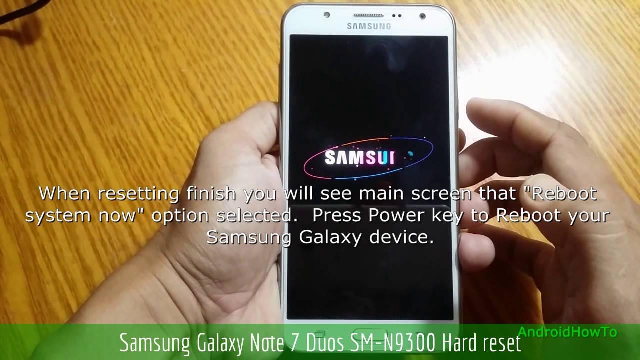 Samsung Galaxy Note 7 Duos SM-N9300 Hard reset