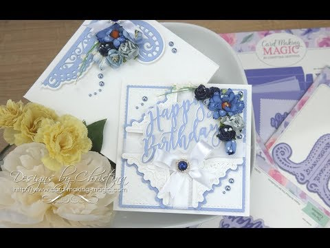 6x6 Collection - Blue & White Corner Card, Stand & Box