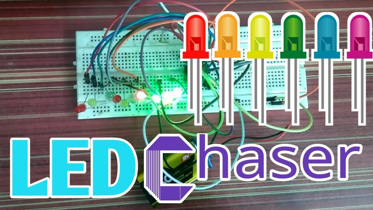 How To Make LED Chaser Circuit Using 4017 IC In Hindi - YouTube