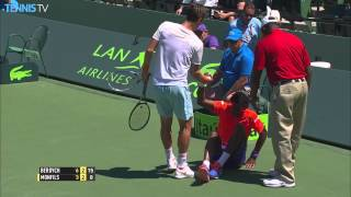 2015 Miami Open - Gael Monfils has a bad fall playing Tomas Berdych