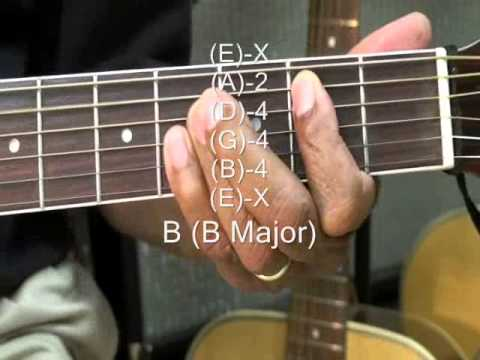 How To Play B Major Chord On Guitar B Chord Form Tutorial Tabs