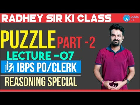 .Mission IBPS PO/Clerk Lecture 7 Puzzle Part 2     11.00am   Radhey Sir
