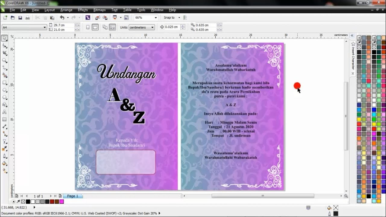 Cara membuat undangan pernikahan dengan corel draw part 1.