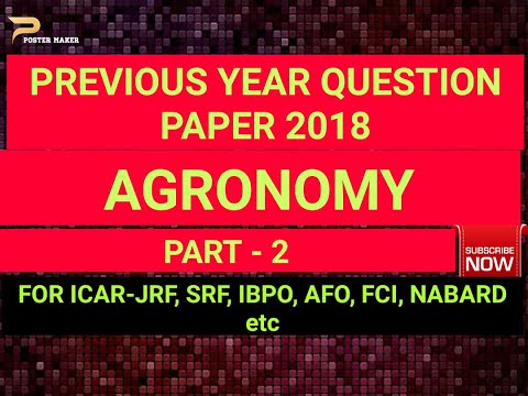 ICAR JRF Agronomy Question paper 2018 Part - 2