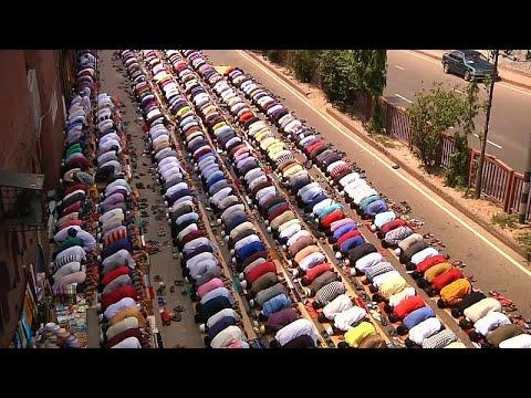 Muslim Prayers Spill Over Into Street On The Last Friday Of Ramadan