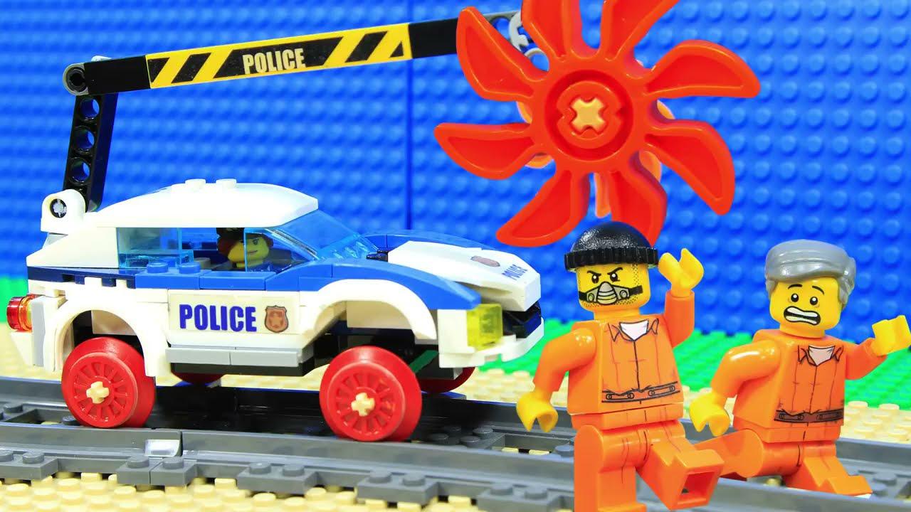 Lego Train Police Excavator Prison Break Fail