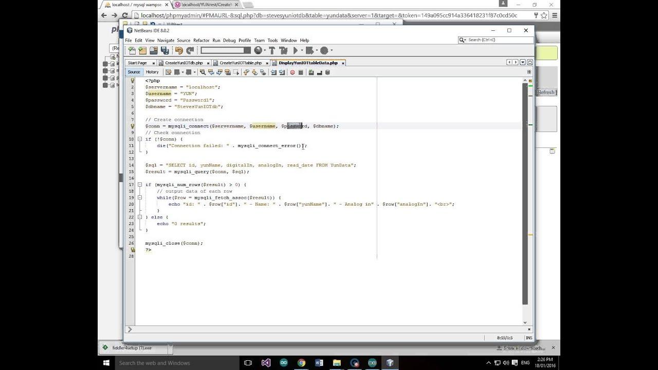 Arduino YUN IOT MySQL Database create database create table insert test  data display data