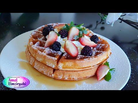 طريقة عمل الوافل خفيف جدا ومقرمش ( belgium waffles ) الوافل البلجيكي