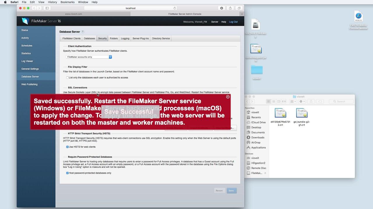 Filemaker Server 16 installing standard SSL certificate