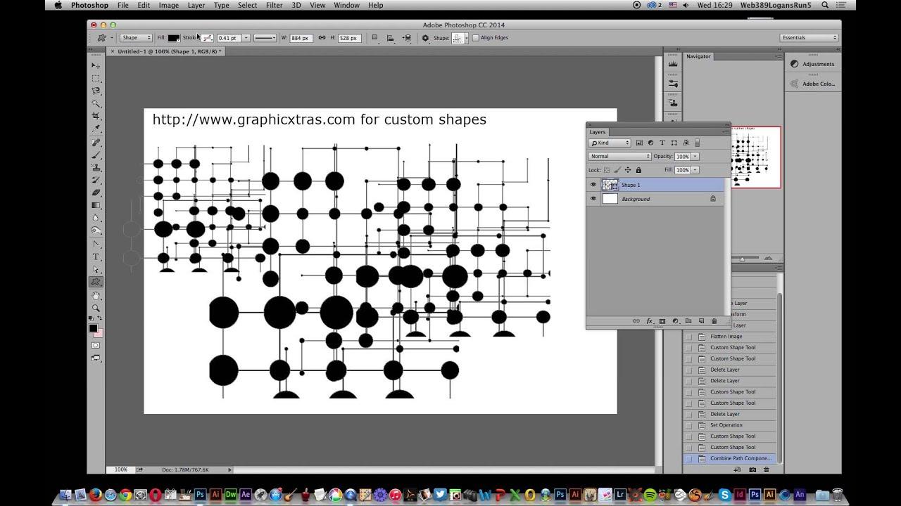 Photoshop cc 2014 merging custom shapes tutorial youtube photoshop cc 2014 merging custom shapes tutorial baditri Image collections