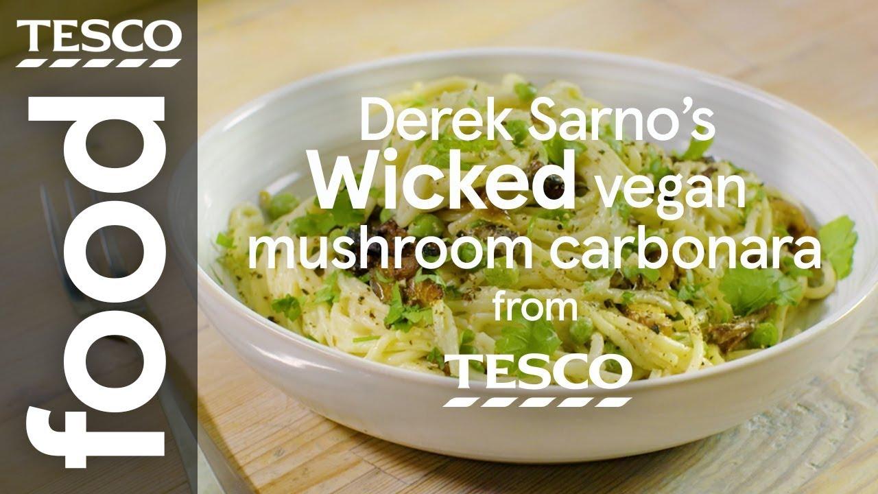 Derek Sarnos Wicked Vegan Mushroom Carbonara Tesco Food