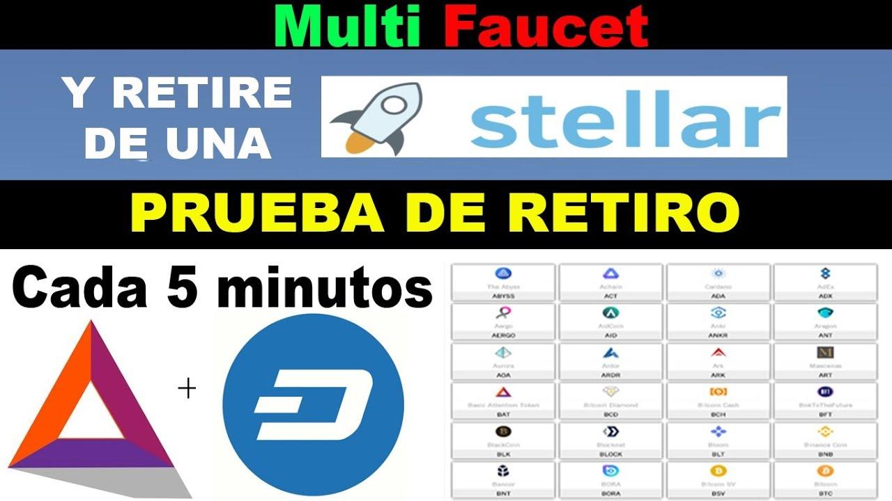 Multi Faucet | reclame Stellar y retire de una | Prueba de retiro | BAT XML cada 5 minutos efaucet