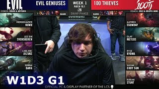 Evil Geniuses vs 100 Thieves | Week 1 Day 3 S10 LCS Spring 2020 | EG vs 100 W1D3