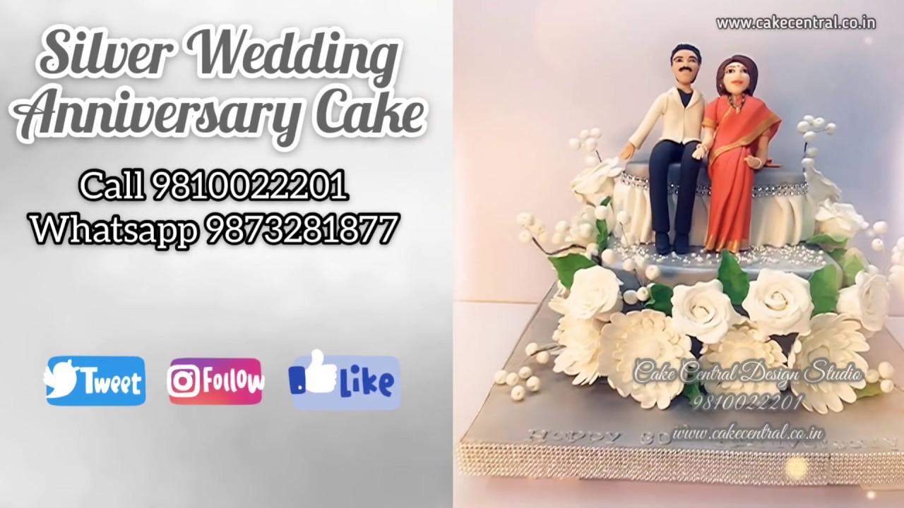 25th Wedding Anniversary Cake For Parents Silver Anniversary Cake Designs In Delhi Youtube