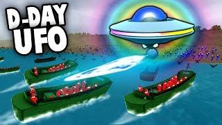 SECRET UFO Defends D-Day Invasion!  Aliens! (Ravenfield Gameplay)