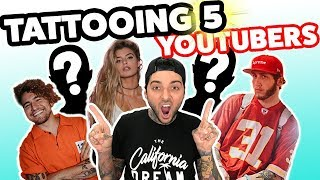 Tattooing 5 YouTubers In 1 Day ft Alissa Violet Jc Caylen Faze Banks  More
