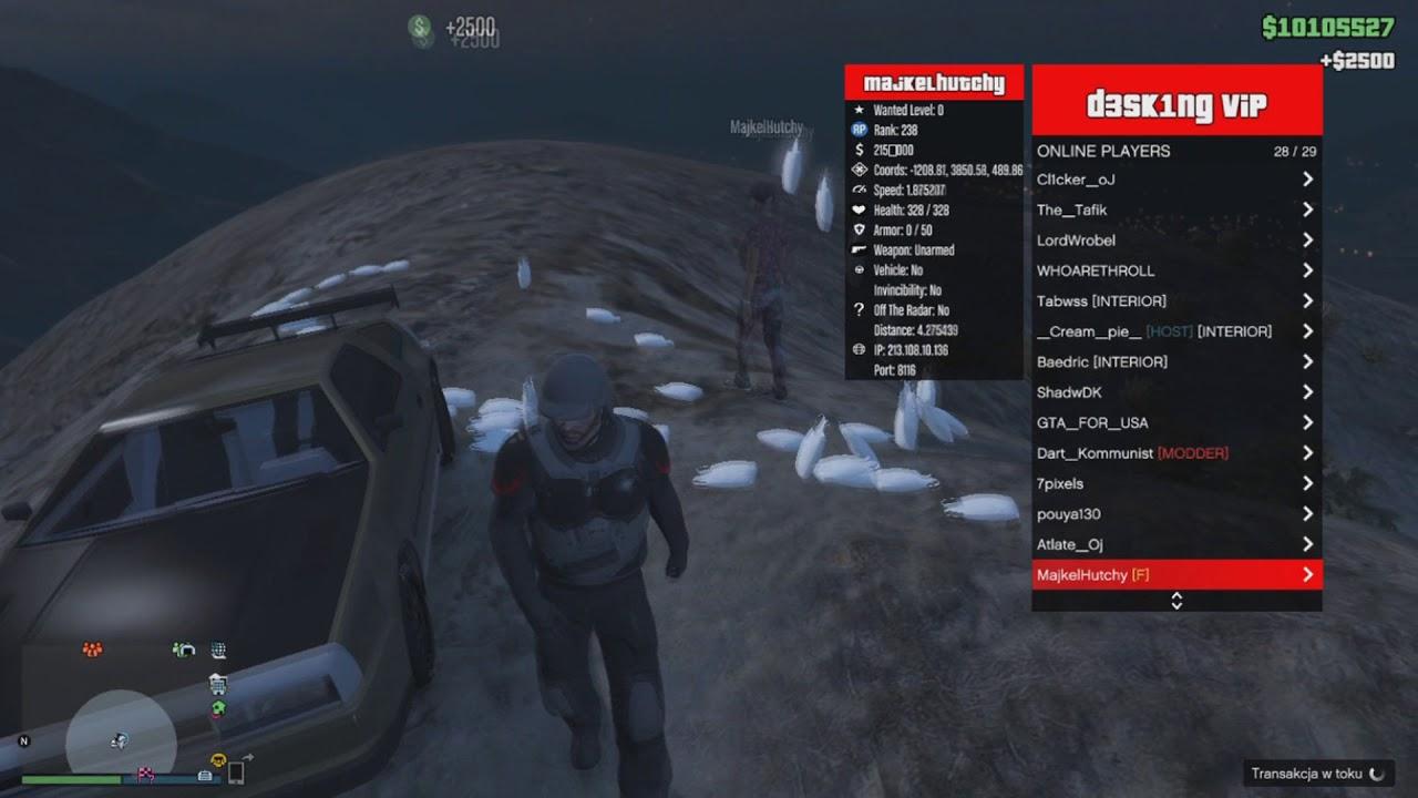 GTA V PC ONLINE 1 42 D3SKING MOD MENU 9 9 2 (MONEY DROP SERVICE) (SAFE &  UNDETECTED)