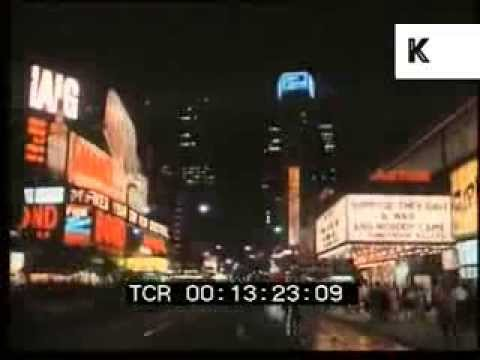 1970 New York Theatreland at Night, 1960s, 1970s, Broadway,