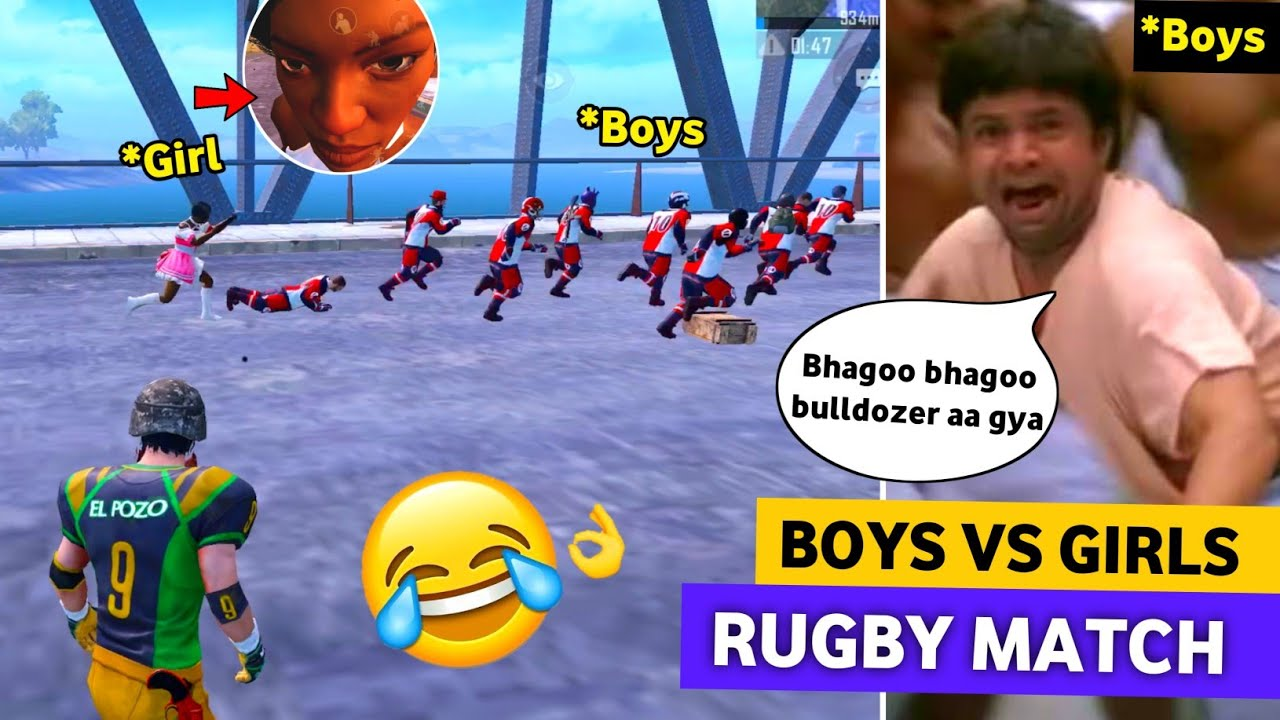 WE ORGANISED FUNNIEST BOYS VS GIRLS RUGBY MATCH IN PUBG MOBILE | TRY NOT TO LAUGH CHALLENGE 😂🔥