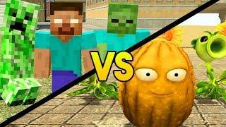 Garry's Mod 'PLANTS VS ZOMBIES VS MINECRAFT' (Gmod Sandbox Funny Moments, PVZ, Minecraft Mods)