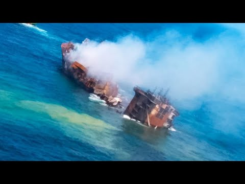 Huge container ship sinking off the coast of Sri Lanka, weeks after massive explosion