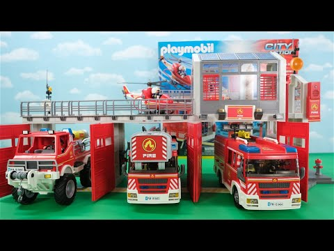 Unboxing, Building And Playing With Playmobil Fire Station (9462), Fire Trucks And Fire Helicopter!