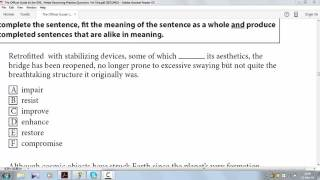 Sentence Equivalence question 1 on pg 80 from ETS Official GRE verbal reasoning practice question