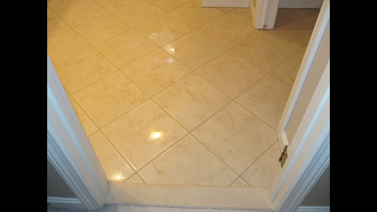 Diagonal bathroom ceramic tile floor youtube dailygadgetfo Gallery