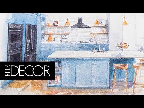 Sleek & Colorful Dream Kitchen | Elle Décor + GE Appliances
