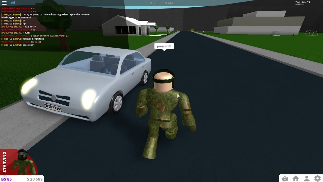 How to glitch into peoples house in bloxburg no car needed edition